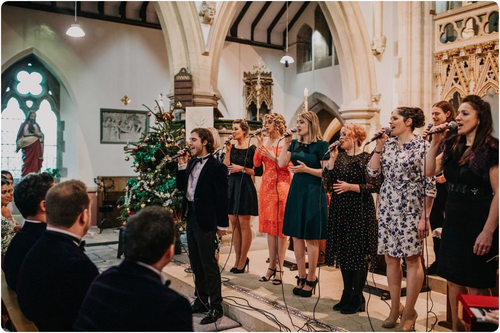 gospel choir singing at a woodchester priory wedding