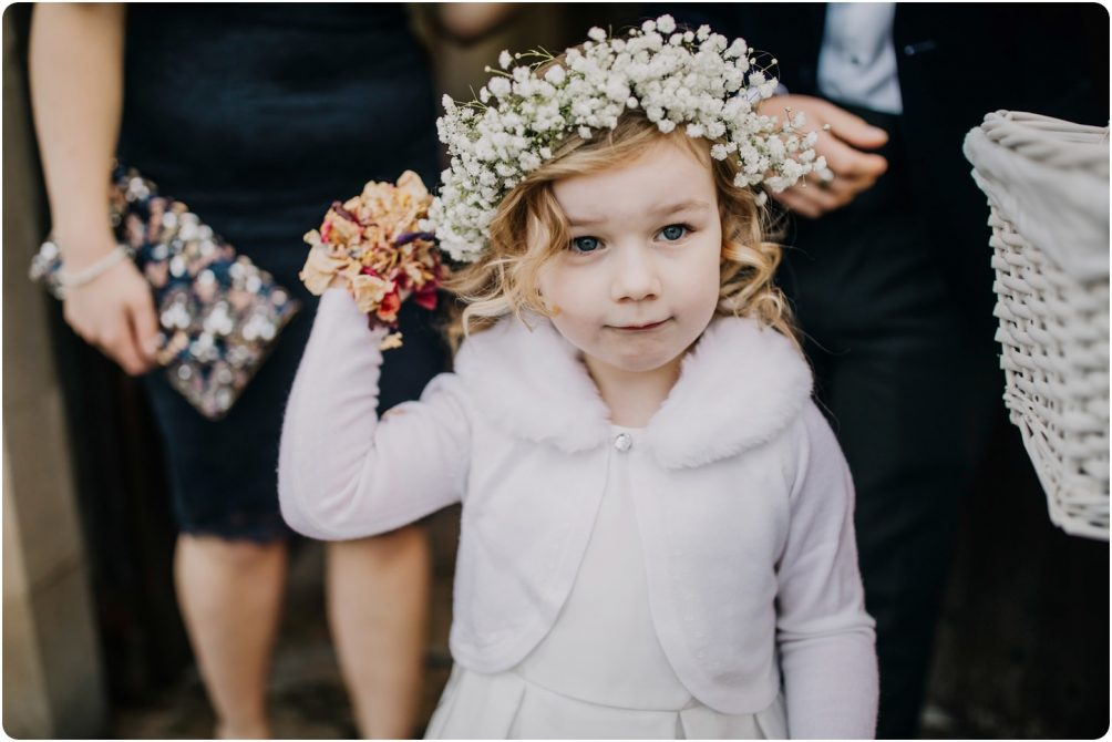 flower girl with flower crown in hair