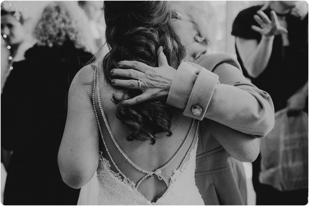grans hug at a kingscote barn wedding