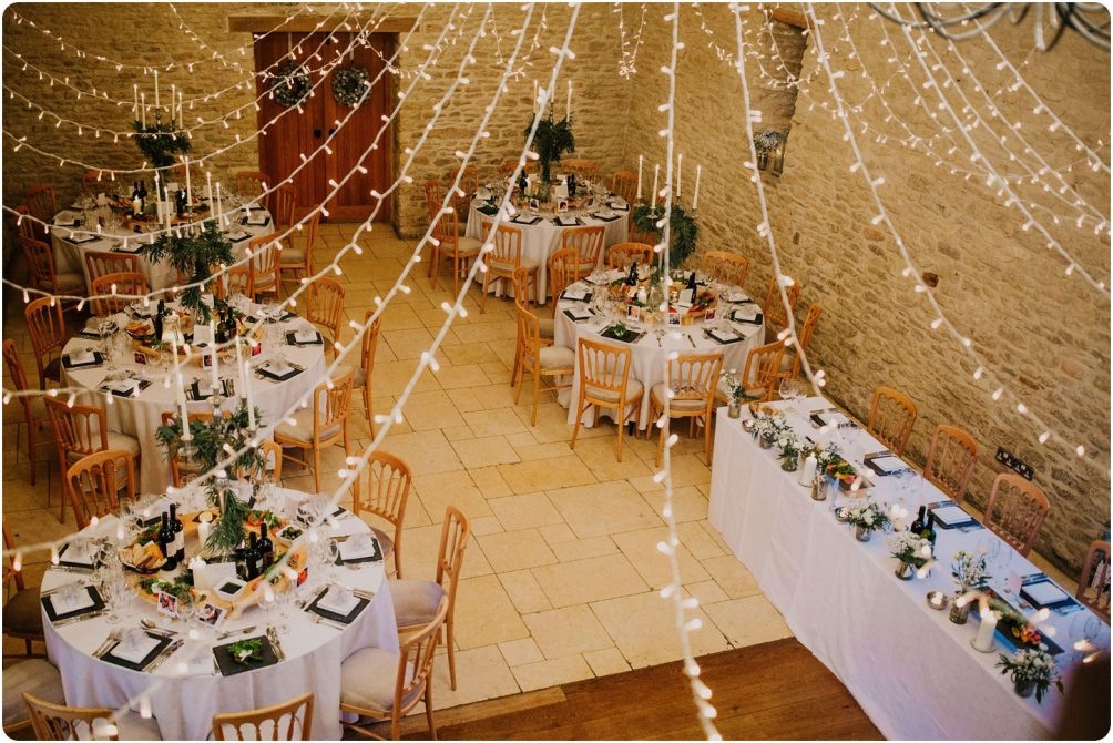 birds eye view of room at a kingscote barn wedding