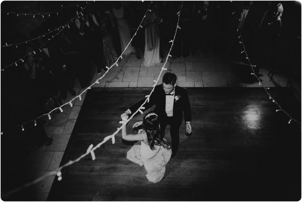 bride and groom first dance taken from above at a kingscote barn wedding