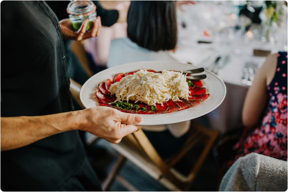 Food at a Stone Barn wedding