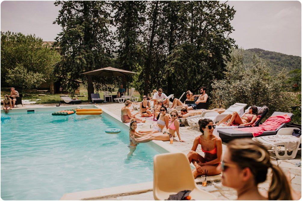 italian wedding around the pool