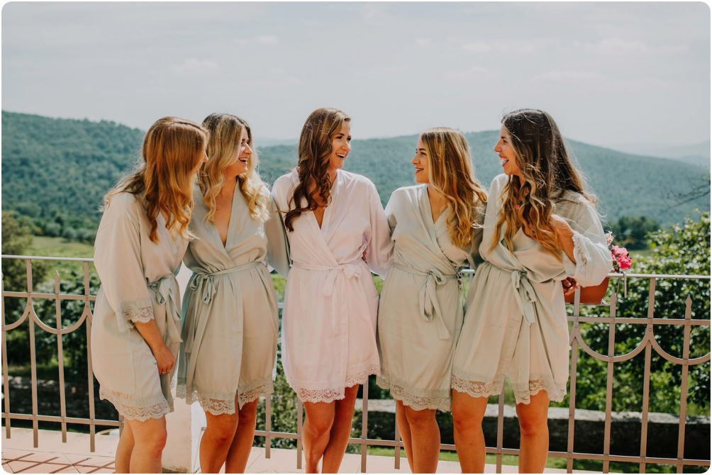 bridesmaids in morning at montelucci wedding